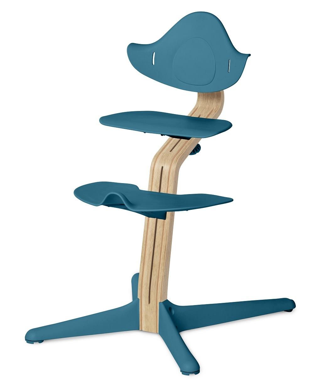 Nomi NOMI highchair meegroeistoel Basis eiken wit oiled en stoel Ocean Blue
