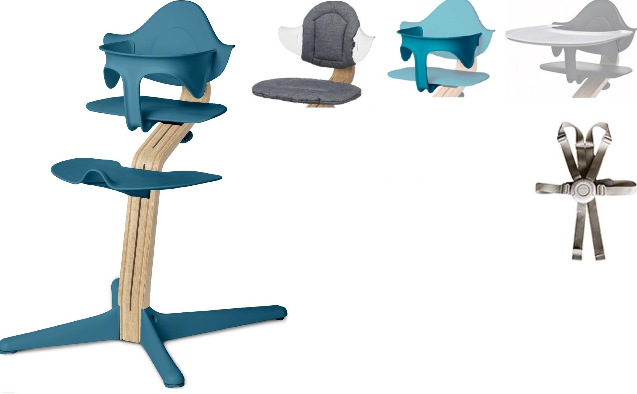 NOMI highchair: ideale set vanaf 6 maanden met Basis met Meegroeistoel, Zitkussen, Beugel, Tray en H