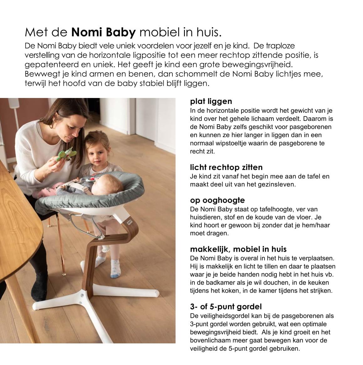 Nomi NOMI highchair: ideale set vanaf 6 maanden met Basis met Meegroeistoel, Zitkussen, Beugel, Tray en Harnas - Basis eiken wit oiled, stoel Lime