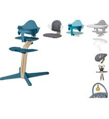 Nomi NOMI highchair: de meest complete meegroeistoel met Basis met stoel, Zitkussen, Beugel, Tray, Wipper incl. matrasje, Harnas en Speelboog - Basis eiken wit oiled, stoel Ocean Blue