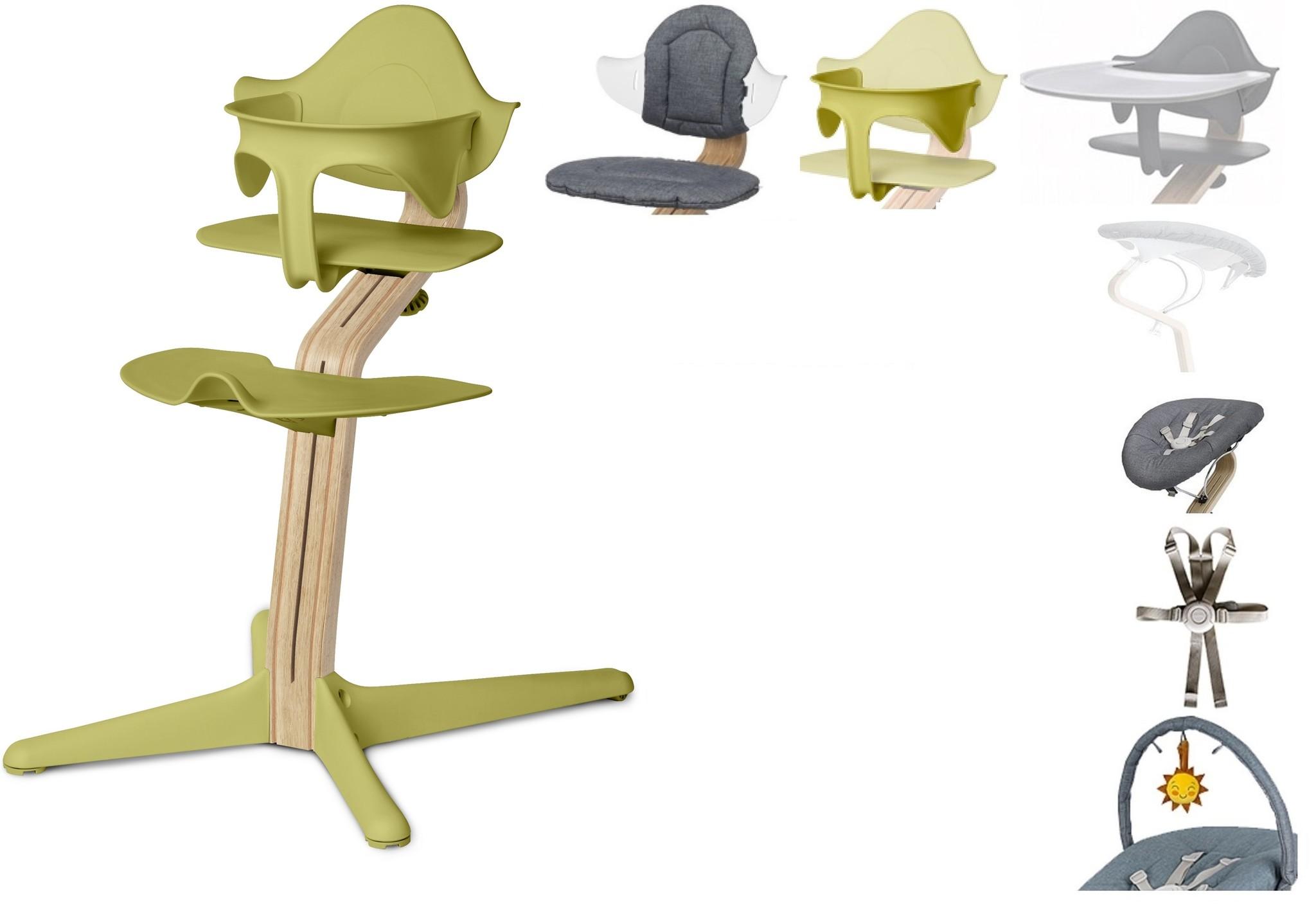 NOMI highchair: de meest complete meegroeistoel met Basis met stoel, Zitkussen, Beugel, Tray, Wipper