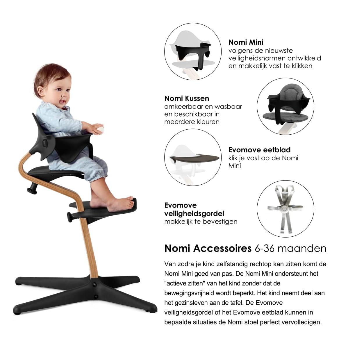 Nomi NOMI highchair: de meest complete meegroeistoel met Basis met stoel, Zitkussen, Beugel, Tray, Wipper incl. matrasje, Harnas en Speelboog - Basis eiken wit oiled, stoel Lime