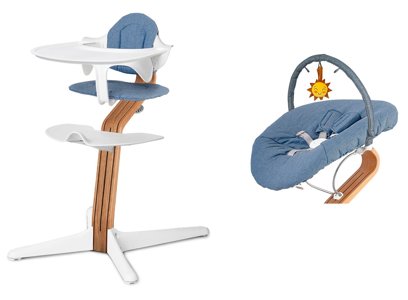 Nomi Nomi kinderstoel set wit inclusief baby-wipstoeltje