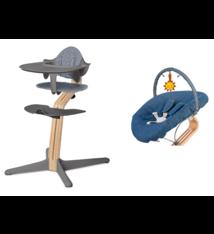 Nomi Nomi kinderstoel set grijs inclusief baby-wipstoeltje