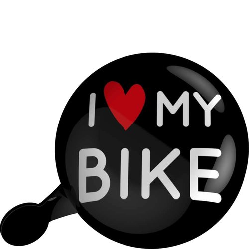 Urban Proof bel 80mm i love my bike zwart