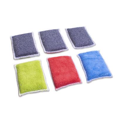Zakje 3x Microvezel schuurspons DUO blauw/rose/groen/grijs