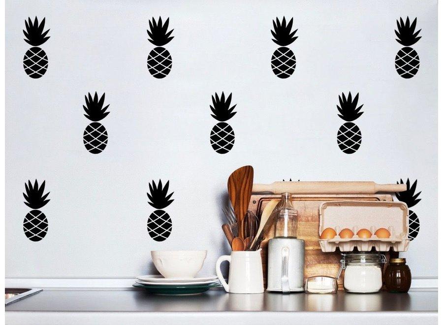 Muursticker Ananas Zwart
