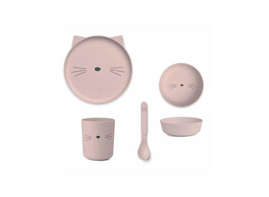 Geboortelijst - Liewood - Bamboo Set 'Cat Pink'