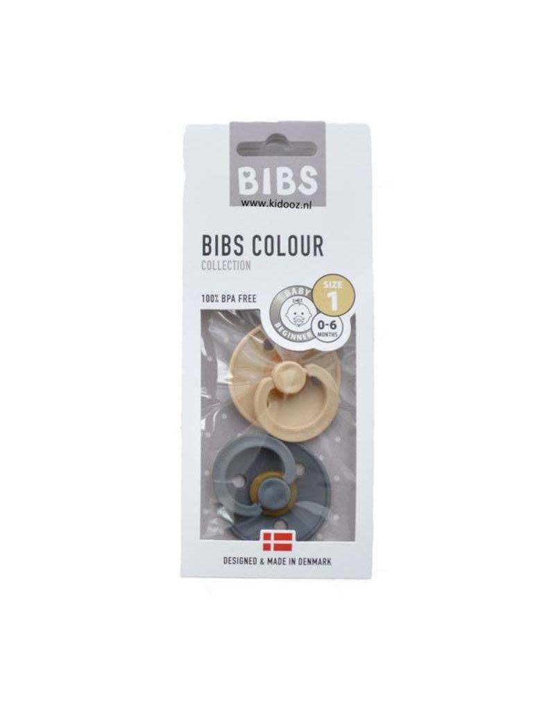 BIBS - Fopspeen Blister Iron & Beige T1
