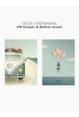 Vissevasse Vissevasse - Notebook Set 'Camper & Balloon dream'