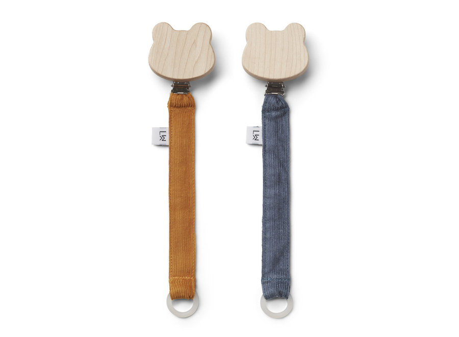 Liewood - Barry Pacifier Strap (2 pack)  - Mustard