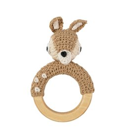 Sebra Sebra - Crochet Rattle 'Deer on ring'