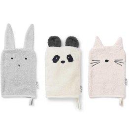 Liewood - Sylvester Washandjes 'Panda - Cat - Rabbit'
