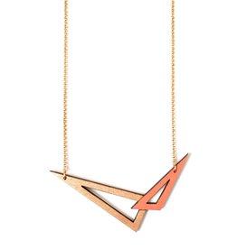 Ella Marie Ella Marie - Halsketting 2 driehoeken - Koraal / Rosé goud