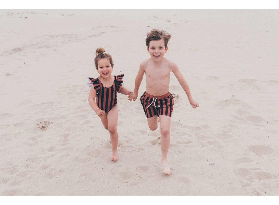 Sproet & Sprout - Swim shorts Painted Stripe - Mango