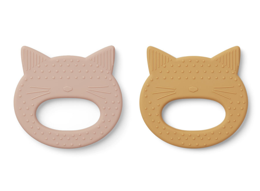 Liewood - Geo Teether (2 pack) - Cat Rose / Yellow Mellow