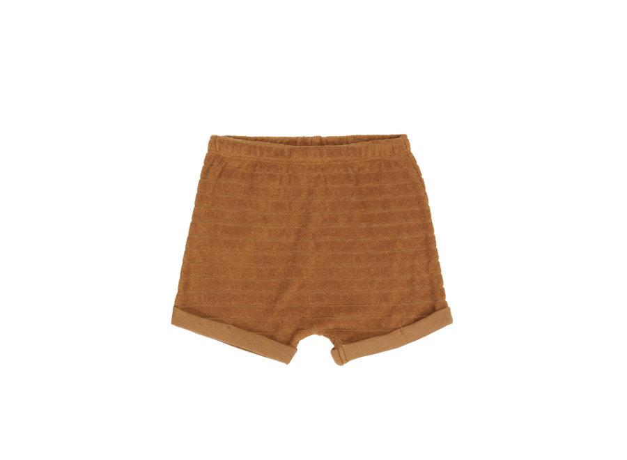 Phil & Phae - Striped frotté shorts - Antique brass