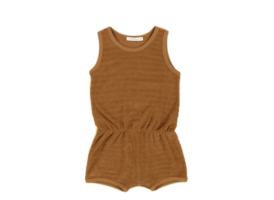 Phil & Phae - Striped frotté playsuit - Antique Brass