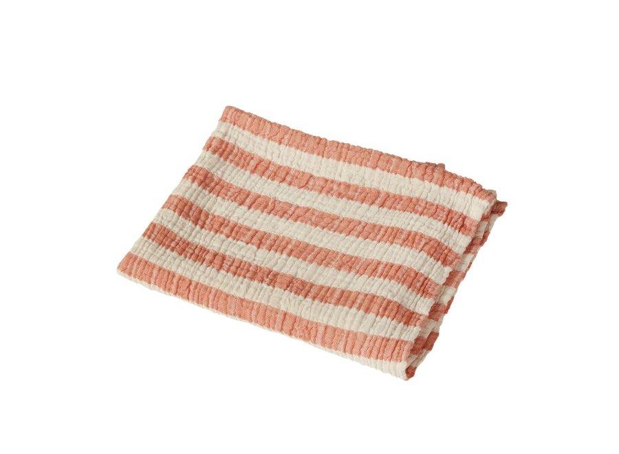 Quax - Natural - Blanket/towel Stripes M - Abricot