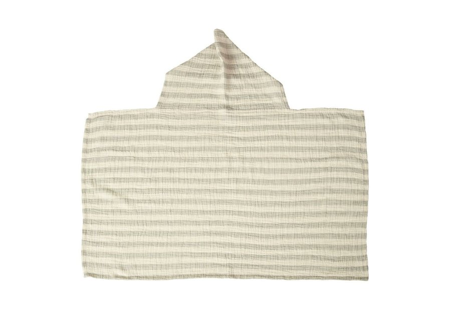Quax - Natural - Hooded Baby Towel - Stripes Grey
