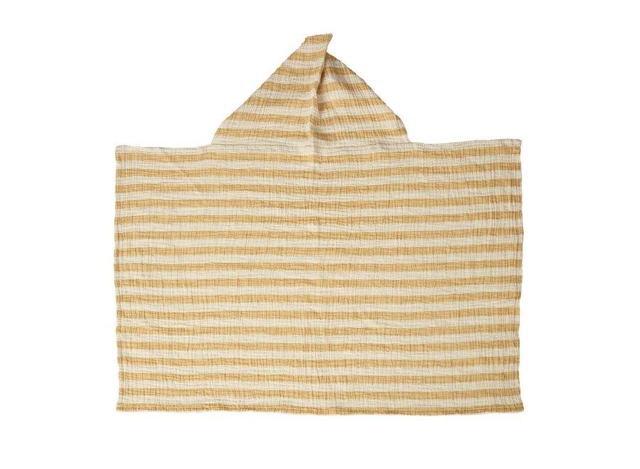 Quax - Natural - Hooded Baby Towel - Stripes Saffran