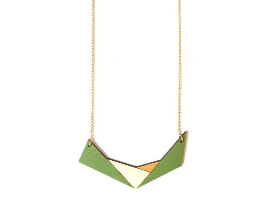 Ella Marie - Geometrische halsketting - Mosgroen