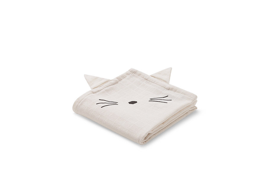 Geboortelijst Aagje - Liewood - Hannah Muslin Cloth - Cat  (2 pack)