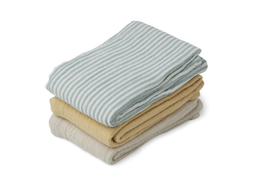Geboortelijst Lara - Liewood - Line muslin cloth - Sea Blue Stripe Mix