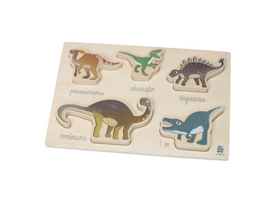 Geboortelijst Carolien - Sebra - Wooden Chunky Puzzle 'Dino'
