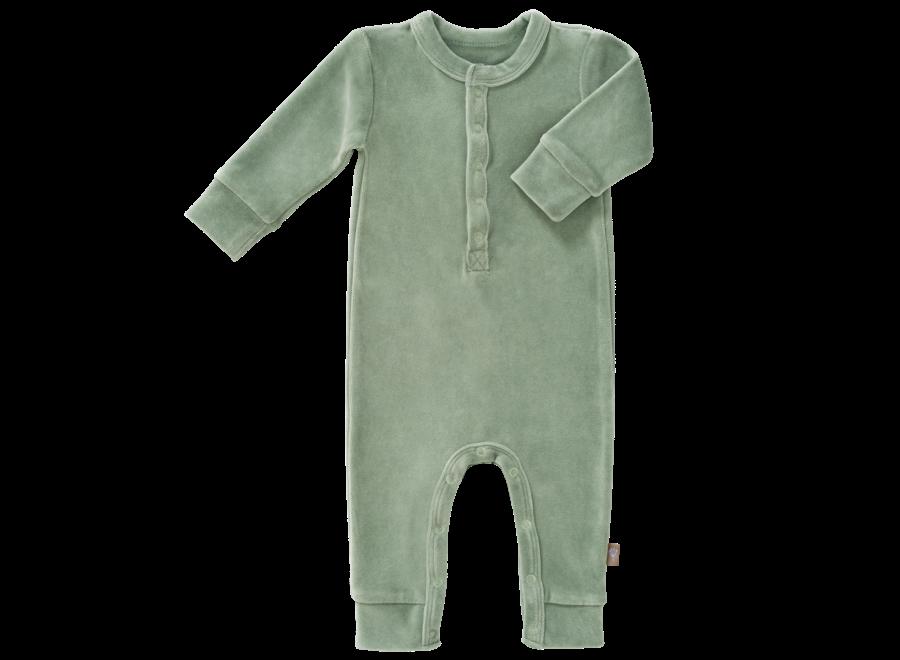 Fresk - Pyjama Velours zonder voet - Forest Green