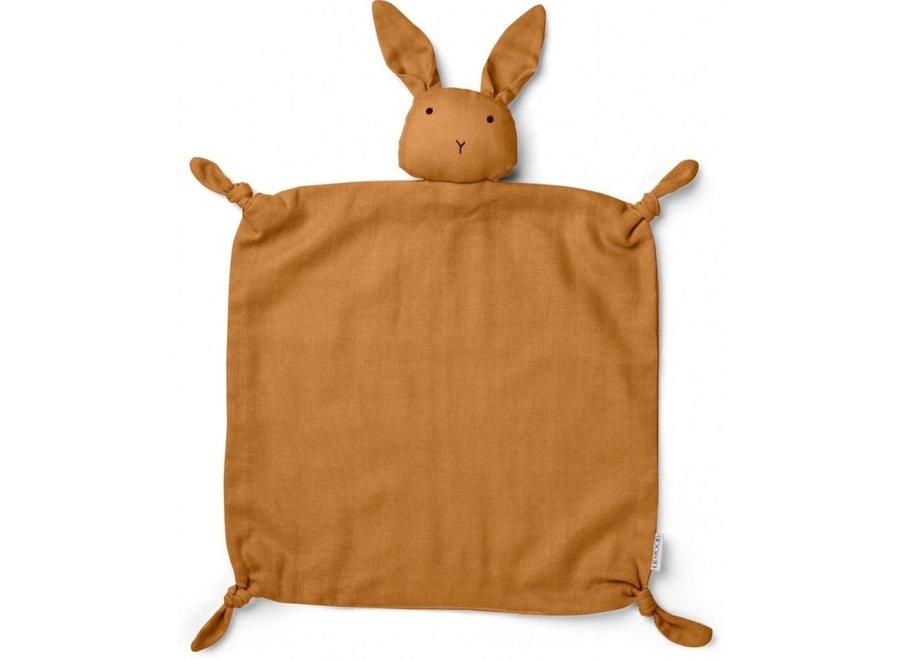 Geboortelijst Mieke en Stijn -  Liewood - Agnete Cuddle Cloth - Rabbit Mustard