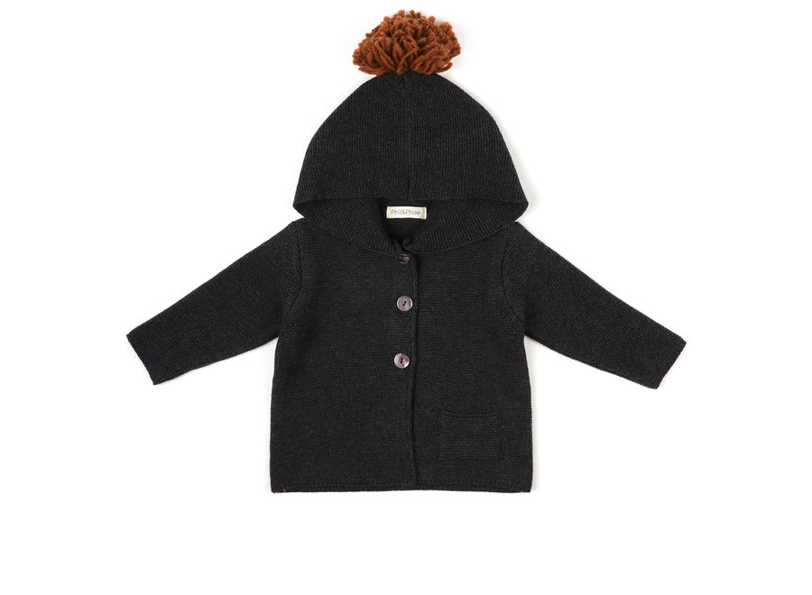 Phil & Phae - Pompon baby knit cardigan - Charcoal