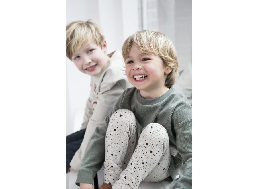 Geboortelijst Serafine - Little Indians - Sweater - Corduroy Green 3 - 6 maand