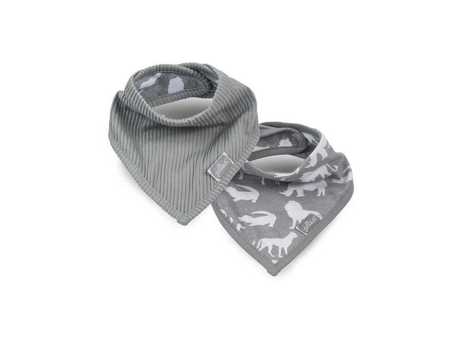 Geboortelijst Isabelle - Jollein - Slab bandana Safari stone grey (2pack)