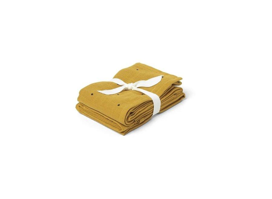 Geboortelijst Katia - Liewood - Hannah muslin cloth print - Classic Dot Mustard