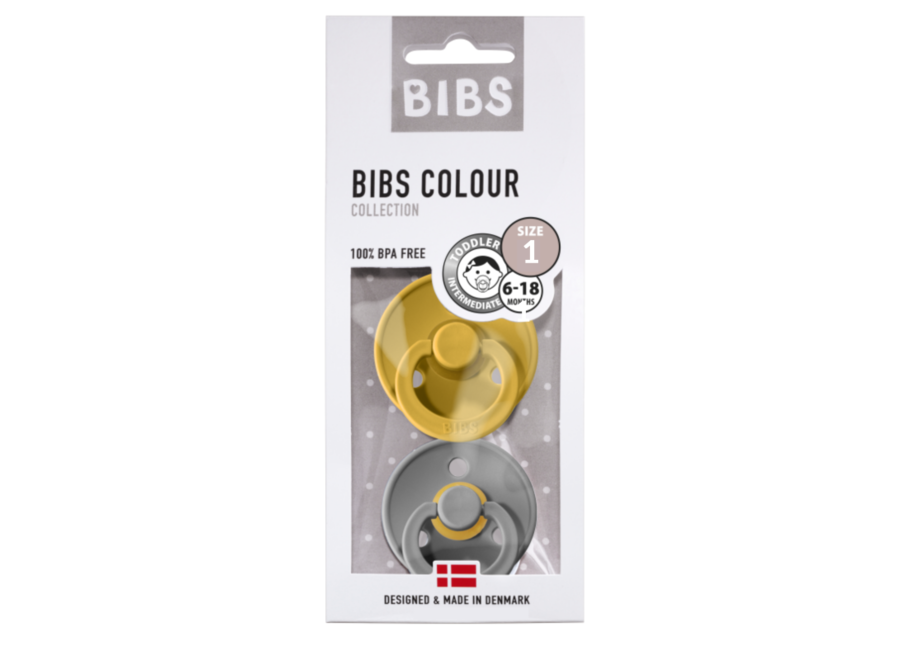 Bibs Fopspeen - BLISTER Moustard/Smoke
