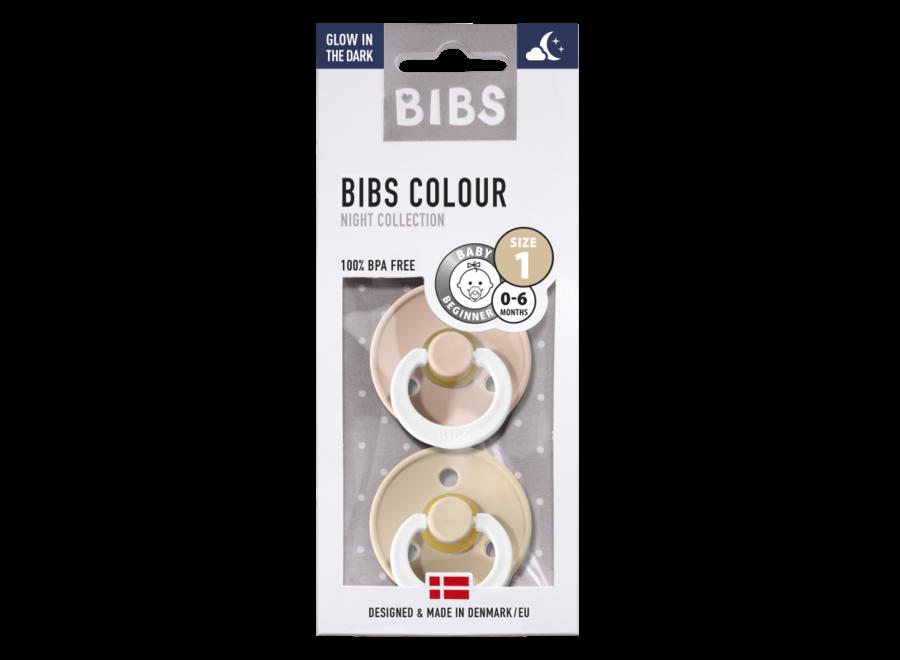 Bibs Fopspeen - Blister 'Glow in the dark' Vanilla/Blush