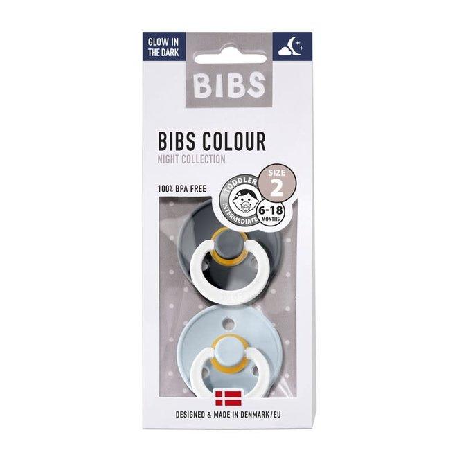 BIBS Fopspeen - Blister 'Glow in the dark' Iron / Baby Blue