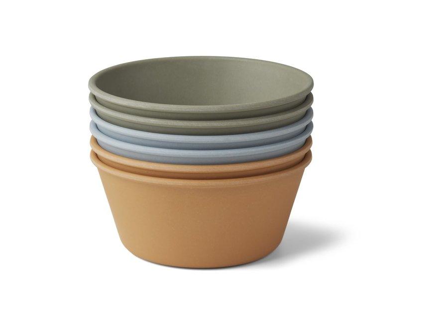 Liewood - Greta bamboo bowl 6-pack - Blue multi mix