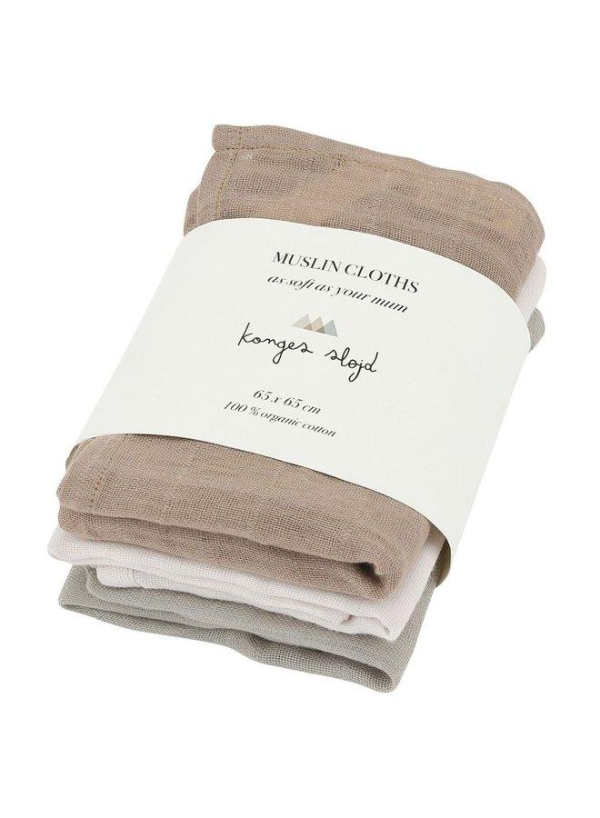 Konges Slojd - Muslin Cloth - Rose Dust (3 pack)