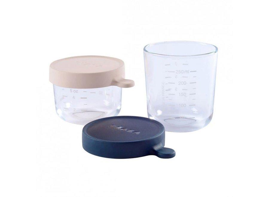 Béaba - Set bewaardoosjes 150 / 250 ml - Pink / Dark blue