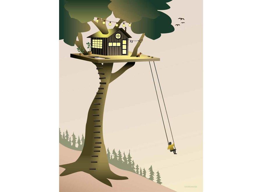 Copy of Vissevasse - Poster 'Treehouse' 15 x 21 cm (excl. kader)