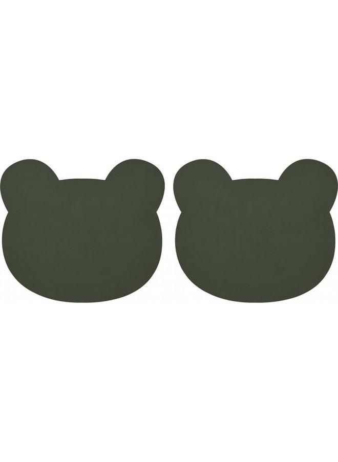 Liewood - Gada placemat (2 pack) - Mr Bear Hunter green