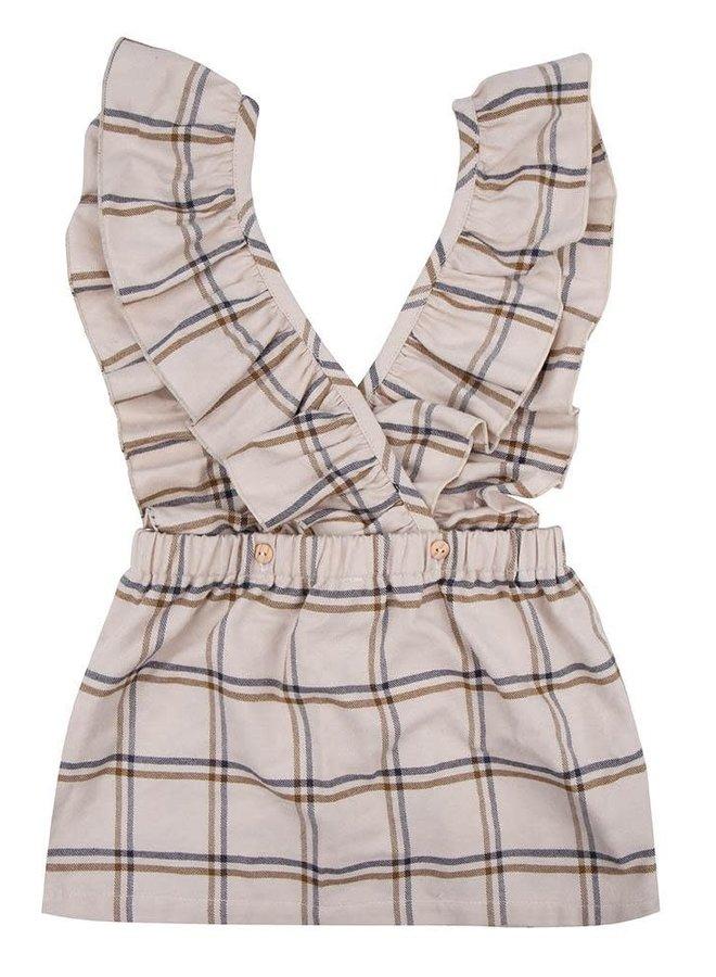 Little Indians - Checkered ecru dress