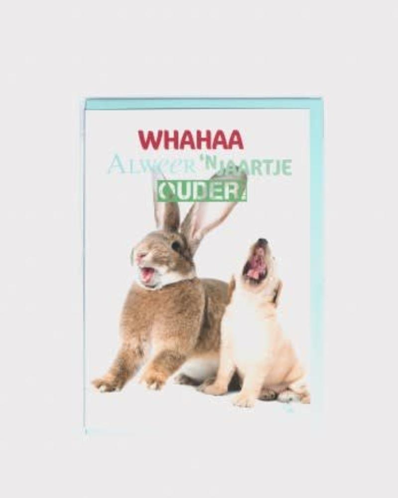 Kaart, verjaardag konijn + pup