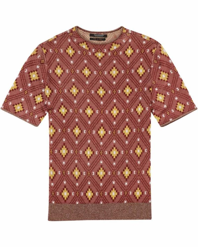 SCOTCH & SODA 143601 - Short sleeve high neck knit in knitted ikat pattern - Combo A - 17 - 18210260601