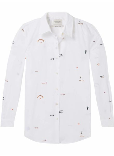 SCOTCH & SODA 143386 - Cotton button up shirt with allover embroideries - White - 6 - 18210220386