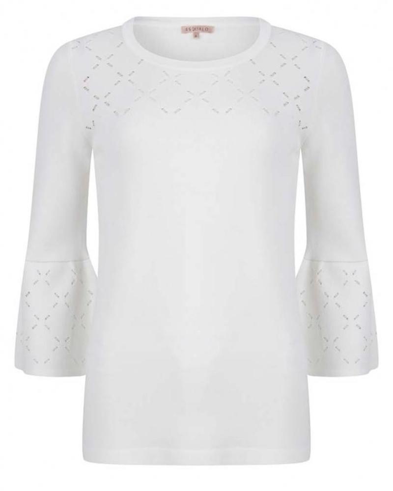 ESQUALO Sweater ajour knit - Off White