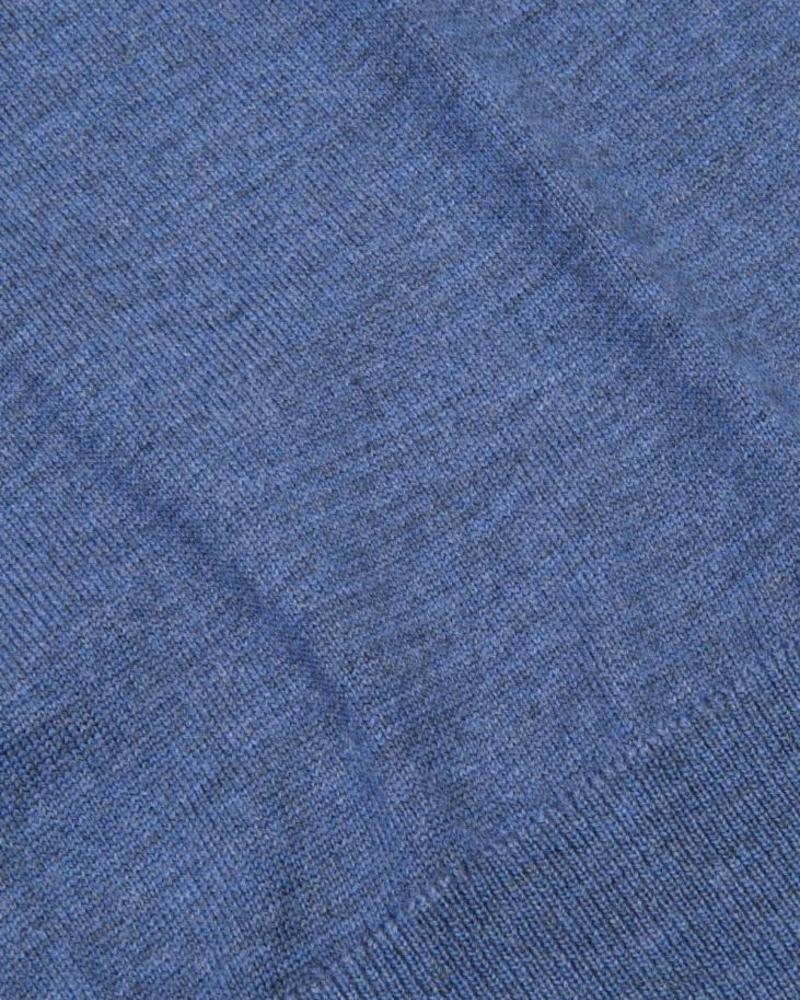 CAVALLARO Merino R-Neck Pullover - Blue - 60000