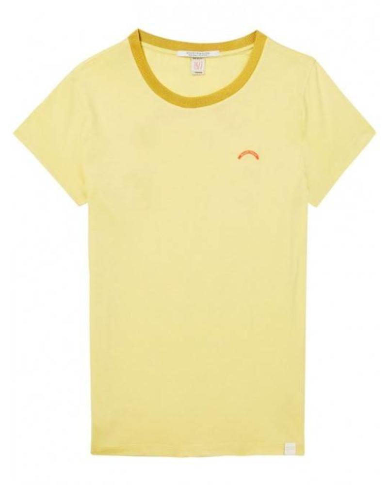 SCOTCH & SODA 143723 - Crew neck tee with various artworks and mercerised neckline - Lemon Yellow - 2031 - 18210151723